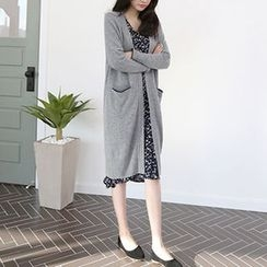 Hello sweety - Wool Blend Open-Front Long Cardigan