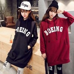 Dream Girl - Hooded Lettering Long-Sleeve Sweat Dress