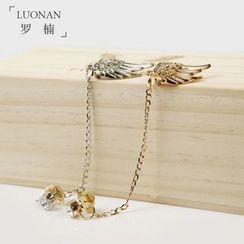 Luonan - Wings Dangle Chain Collar Pin