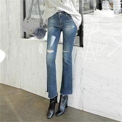 ZIZIBEZIRONG - Slit-Knee Boot-Cut Jeans