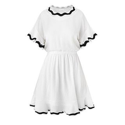 GRACI - Frill Trim Short-Sleeve Dress