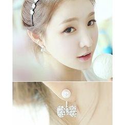 Miss21 Korea - Rhinestone Faux-Pearl Earrings