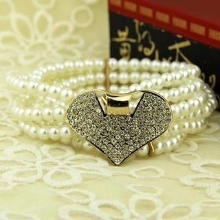 Cuteberry - Rhinestone Heart Beaded Belt