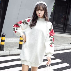 Fancy Show - Long-Sleeve Embroidered Fleece Dress