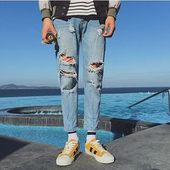 Soulcity - Distressed Tapered Jeans
