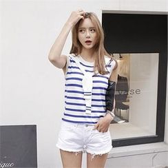 LIPHOP - Inset Scarf Stripe Sleeveless Top