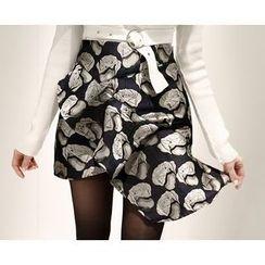Marlangrouge - Asymmetric-Hem Rosette Mini Skirt