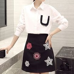 Romantica - Set: Long-Sleeve Pocket-Accent Blouse + Printed A-Line Skirt