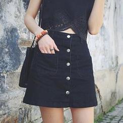 Jeans Kingdom - Button-front A-line Denim Skirt
