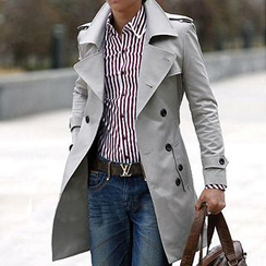 Bay Go Mall - Double-Breasted Trench Coat