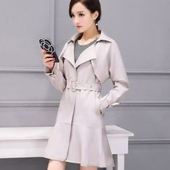 Oaksa - Snap Button Trench Coat with Belt