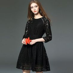 Y:Q - High-Waist A-Line Lace Dress