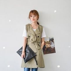 JUSTONE - Linen Blend Trench Vest with Sash