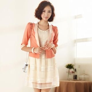 Moonbasa - Elbow-Sleeve Scalloped-Lapel Cropped Blazer