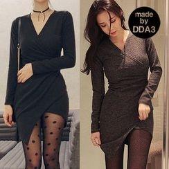Seoul Fashion - V-Neck Asymmetric-Hem Mini Bodycon Dress