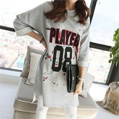 PIPPIN - 3/4-Sleeve Lettering Pullover Dress