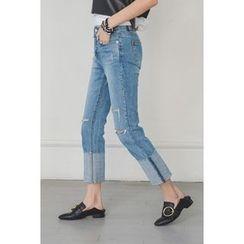 migunstyle - Distressed Cuff-Hem Jeans