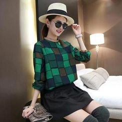 Small Mosquitoes - Plaid Mandarin-Collar Long-Sleeve Top