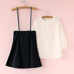 Munai - Set: Lantern-Sleeve Top + Suspenders Skirt