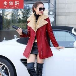 Billow Sky - Fleece Collar Faux Leather Long Jacket