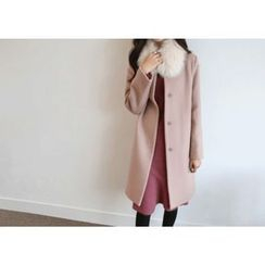 Hello sweety - Hidden-Button Wool Blend Coat