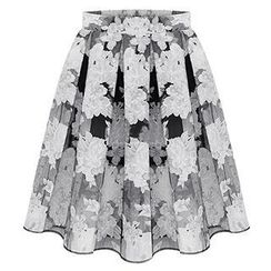 Queen Bee - Floral Organza Midi Skirt