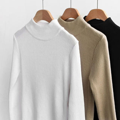 NIPONJJUYA - Mock-Neck Rib-Knit Top