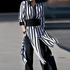 Champi - Striped Slit Long Shirt