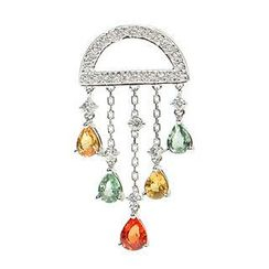 Keleo - 18K White Gold Pendant with Diamonds and Colorstones