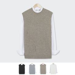 DANGOON - Crew-Neck Sleeveless Waffle-Knit Top