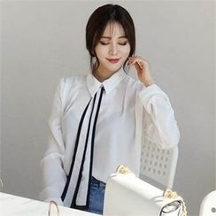 QNIGIRLS - Contrast-Trim Tie-Neck Chiffon Blouse