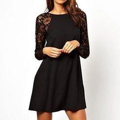 Eloqueen - Lace-Sleeve Dress
