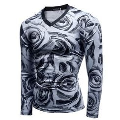 Fireon - Floral Print Long Sleeve V-Neck T-Shirt