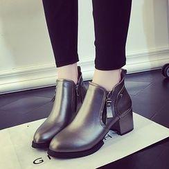 楊董 - 側拉鍊粗跟及踝靴