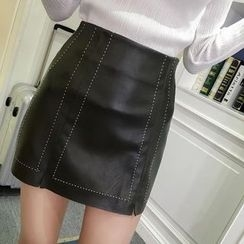 Bloombloom - Faux Leather A-line Skirt