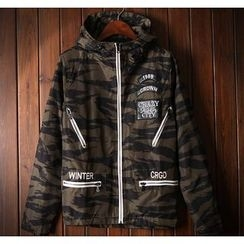 Bigboy - Letter Embroidered Camo Hooded Jacket