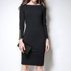 Lovebirds - Long-Sleeve Crochet-Trim Dress
