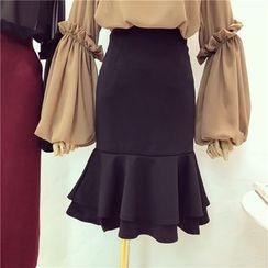 Octavia - Ruffle Hem Midi Skirt
