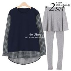 Ho Shop - Set: Check Trim Pullover + Inset Skater Skirt Leggings