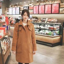 mimi&didi - Seam-Detail Hidden-Button Wool Blend Coat