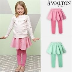 WALTON kids - Girls Inset Check Skirt Leggings