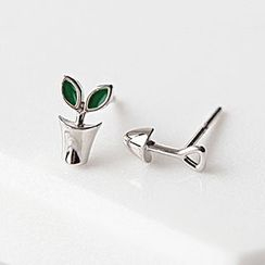 Blinglitz - 925 Sterling Silver Non-Matching Stud Earrings