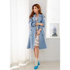 J-ANN - Double-Breasted Trench Coat with Sash