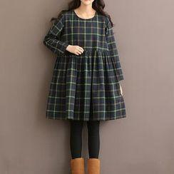 Clover Dream - Long-Sleeve Plaid Pleated Dress