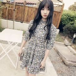 Polaris - Patterned Elbow-Sleeve Dress
