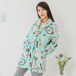 Mother Bear - Maternity Rabbit Print Pajama Coat