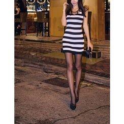 GUMZZI - Sleeveless Stripe Knit Dress