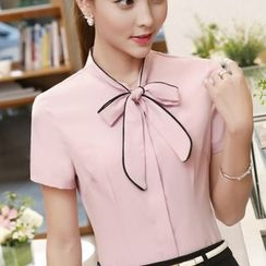Eferu - Bow Accent Short Sleeve Chiffon Shirt