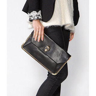 59 Seconds - Skull-Accent Metal Trim Clutch