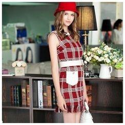 Ozipan - Sleeveless Tweed Fringed Dress